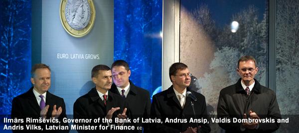 Ilmārs Rimšēvičs, Governor of the Bank of Latvia, Andrus Ansip, Valdis Dombrovskis and Andris Vilks, Latvian Minister for Finance
