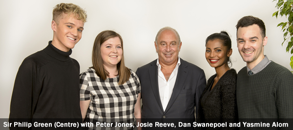 Sir Philip Green (Centre) with Peter Jones, Josie Reeve, Dan Swanepoel and Yasmine Alom