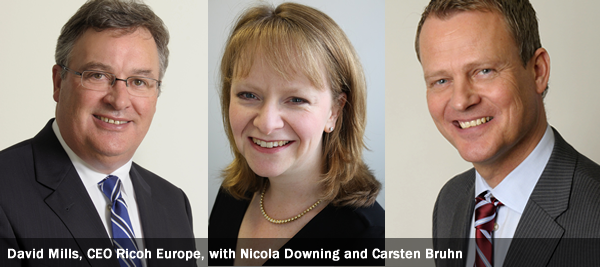 David Mills, CEO Ricoh Europe, with Nicola Downing and Carsten Bruhn