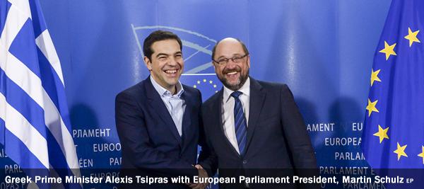 Greek Prime Minister Alexis Tsipras with European Parliament President, Martin Schulz