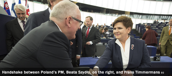 Beata Szydło, on the right, and Frans Timmermans