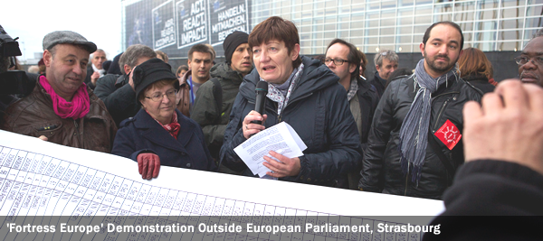 'Fortress Europe' Demonstration Outside European Parliament, Strasbourg
