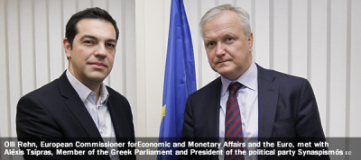 Olli Rehn, Vice-President of the EC in charge of Economic and Monetary Affairs and the Euro, met with Aléxis Tsípras, Member of the Greek Parliament and President of the political party Synaspismós.