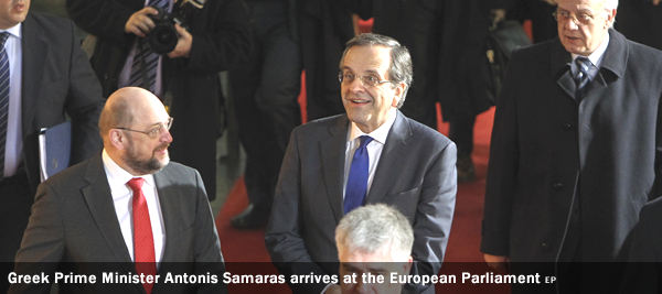 Greek Prime Minister Antonis Samaras arrives at the European Parliament