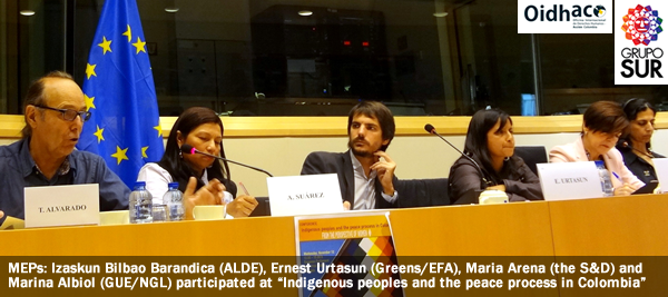 "MEPs: Izaskun Bilbao Barandica (ALDE), Ernest Urtasun (Greens/EFA), Maria Arena (the S&D) and  Marina Albiol (GUE/NGL) participated at ""Indigenous peoples and the peace process in Colombia"""