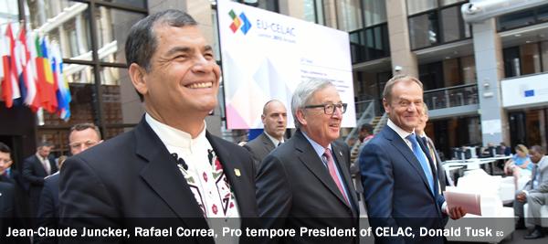 Jean-Claude Juncker, Rafael Correa, Pro tempore President of CELAC, Donald Tusk